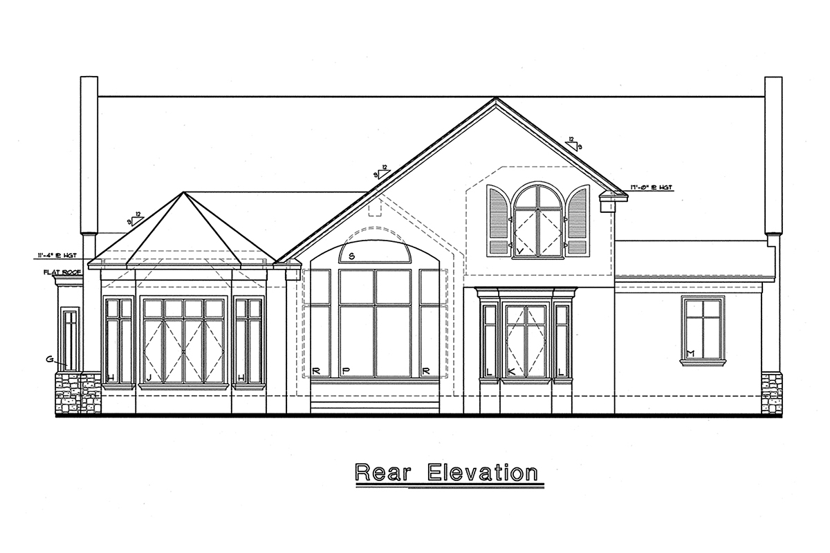 Mediterranean House Plan 67920 with 4 Beds , 3 Baths , 2 Car Garage Rear Elevation