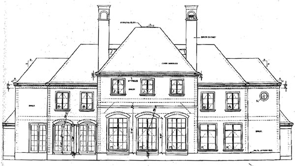 European House Plan 67922 Rear Elevation
