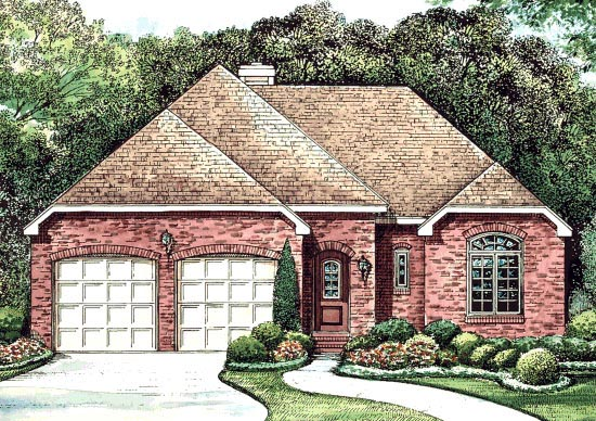 House Plan 67930 | Traditional Style Plan with 1678 Sq Ft, 3 Bedrooms, 2 Bathrooms, 2 Car Garage Elevation