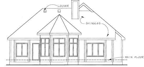 House Plan 67930 | Traditional Style Plan with 1678 Sq Ft, 3 Bedrooms, 2 Bathrooms, 2 Car Garage Rear Elevation