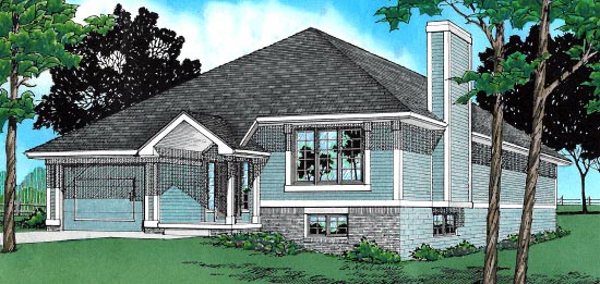 Narrow Lot , One-Story , Traditional , Elevation of Plan 67939