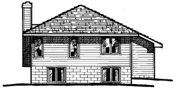 Narrow Lot , One-Story , Traditional , Rear Elevation of Plan 67939