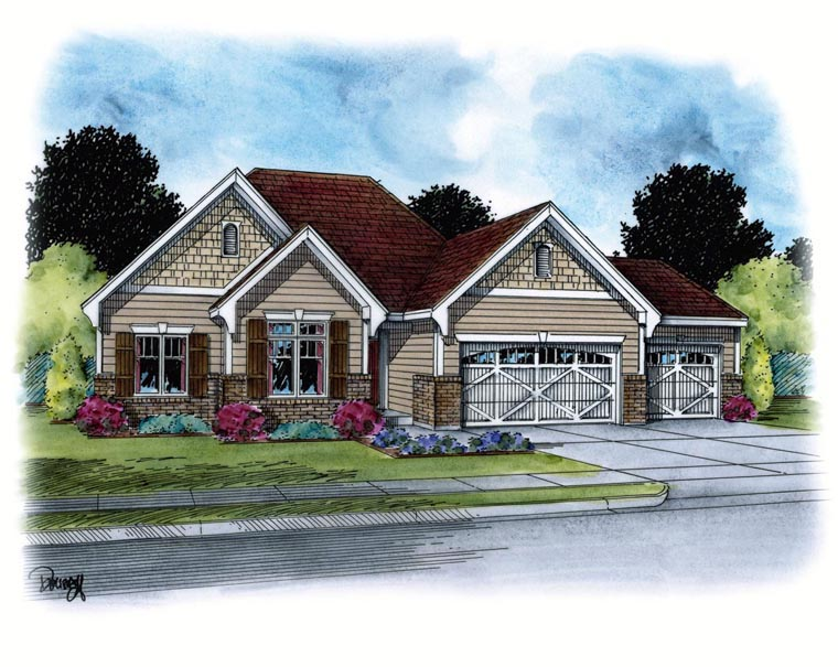 House Plan 67944 | French Country Style Plan with 1635 Sq Ft, 3 Bedrooms, 2 Bathrooms, 3 Car Garage Elevation