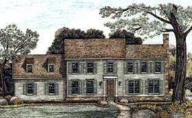 Colonial House Plan 67951 with 4 Beds, 4 Baths, 3 Car Garage Elevation