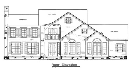 Colonial House Plan 67951 with 4 Beds, 4 Baths, 3 Car Garage Rear Elevation