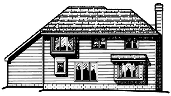 European House Plan 68006 Rear Elevation