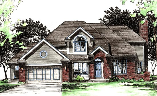House Plan 68015 | European Style Plan with 2497 Sq Ft, 4 Bedrooms, 4 Bathrooms, 2 Car Garage Elevation