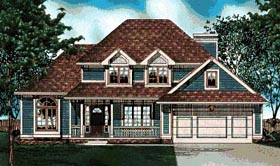 Traditional House Plan 68028 with 3 Beds, 3 Baths, 2 Car Garage Elevation
