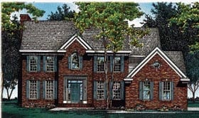 House Plan 68037 | Colonial Southern Traditional Style Plan with 3163 Sq Ft, 4 Bedrooms, 5 Bathrooms, 3 Car Garage Elevation