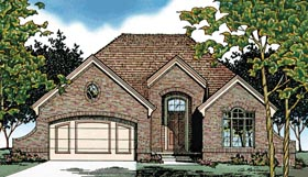 European House Plan 68038 with 3 Beds, 2 Baths, 2 Car Garage Elevation
