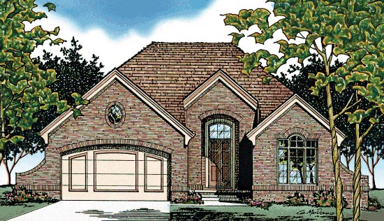 European House Plan 68038 Elevation