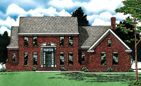 Southern , Colonial House Plan 68045 with 4 Beds, 3 Baths, 2 Car Garage Elevation