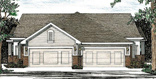 Traditional Multi-Family Plan 68058 with 4 Beds, 4 Baths, 4 Car Garage Elevation