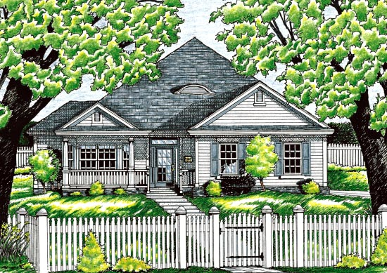 One-Story Traditional Elevation of Plan 68062