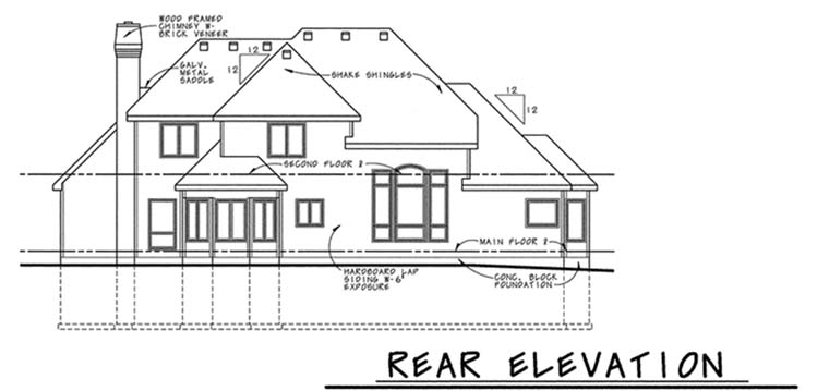 Traditional House Plan 68073 Rear Elevation