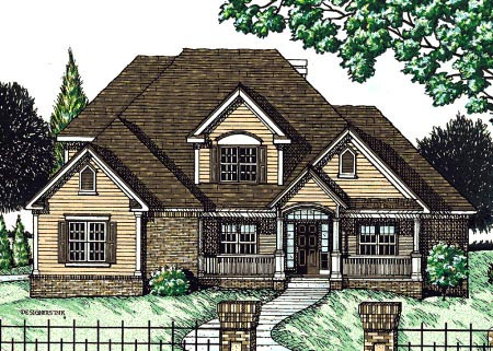 Traditional House Plan 68076 with 4 Beds , 3 Baths , 3 Car Garage Elevation