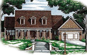 House Plan 68078 | Country Style Plan with 1768 Sq Ft, 2 Bedrooms, 2 Bathrooms, 2 Car Garage Elevation