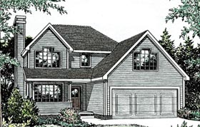 Traditional House Plan 68088 with 3 Beds, 3 Baths, 2 Car Garage Elevation
