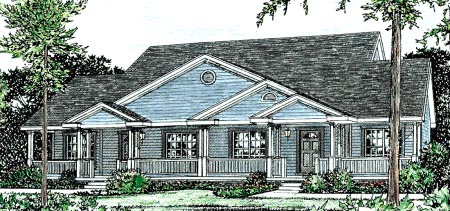 Country , Traditional Multi-Family Plan 68094 with 4 Beds, 4 Baths, 4 Car Garage Elevation