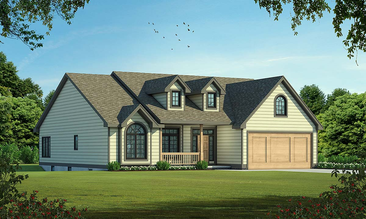 One-Story Ranch Traditional Elevation of Plan 68095
