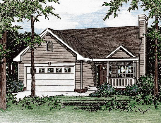 Narrow Lot One-Story Traditional Elevation of Plan 68096