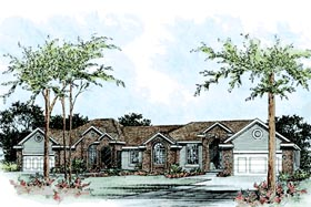 European Traditional Multi-Family Plan 68097 Elevation
