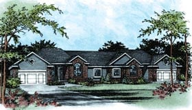 European Traditional Multi-Family Plan 68098 Elevation
