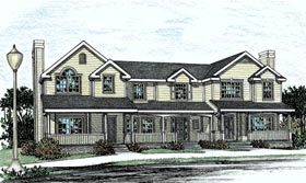 Country Southern Multi-Family Plan 68100 Elevation