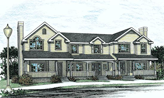 Country, Southern Multi-Family Plan 68100 with 9 Beds, 9 Baths Elevation