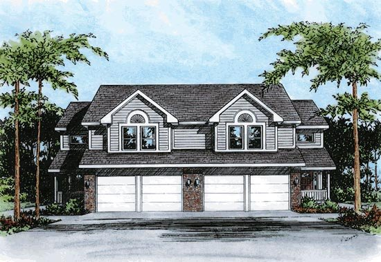 Multi-Family Plan 68101 | Traditional Style Multi-Family Plan with 3636 Sq Ft, 6 Bed, 6 Bath, 4 Car Garage Elevation