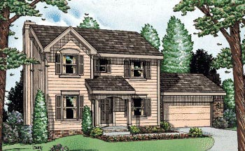 Colonial House Plan 68107 with 3 Beds, 3 Baths, 2 Car Garage Elevation