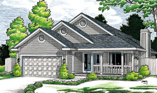 Traditional House Plan 68111 with 3 Beds, 2 Baths, 2 Car Garage Elevation