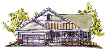 Bungalow Cabin Country Craftsman Southern House Plan 68120 Elevation