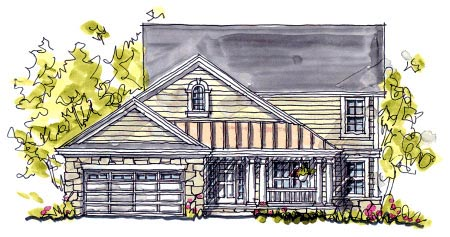 Bungalow , Country , Southern , Elevation of Plan 68122