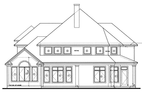 European, Victorian House Plan 68127 with 4 Beds, 4 Baths, 2 Car Garage Rear Elevation