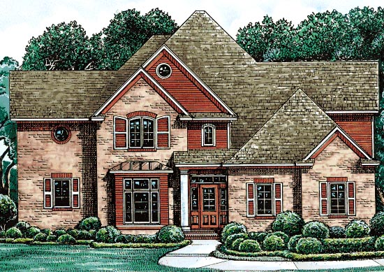 European House Plan 68129 with 4 Beds , 4 Baths , 3 Car Garage Elevation
