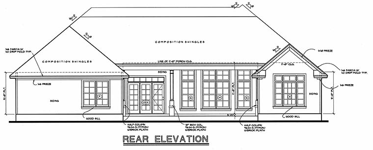 Traditional House Plan 68133 Rear Elevation