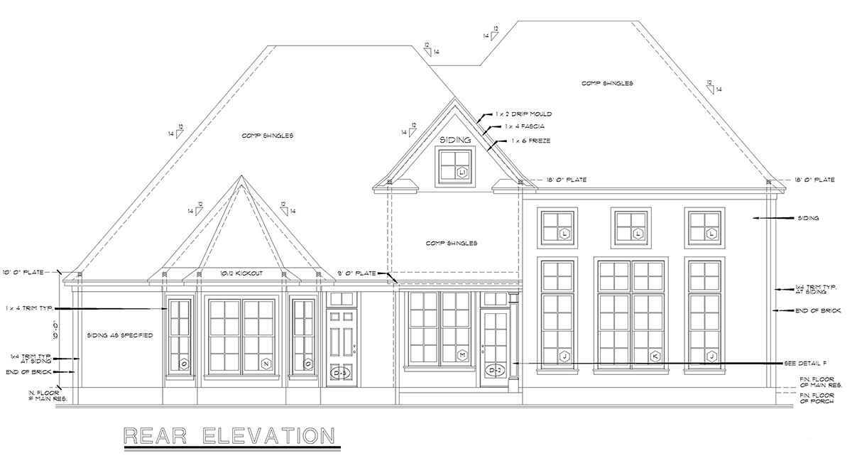 European Victorian House Plan 68134 Rear Elevation