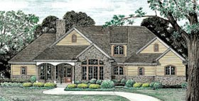 Traditional , European House Plan 68137 with 3 Beds, 2 Baths, 2 Car Garage Elevation
