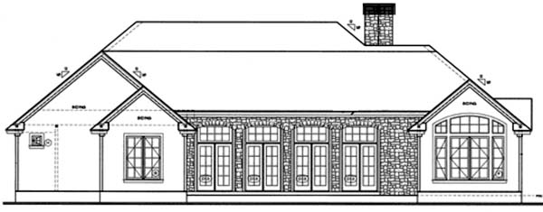 Traditional , European House Plan 68137 with 3 Beds, 2 Baths, 2 Car Garage Rear Elevation