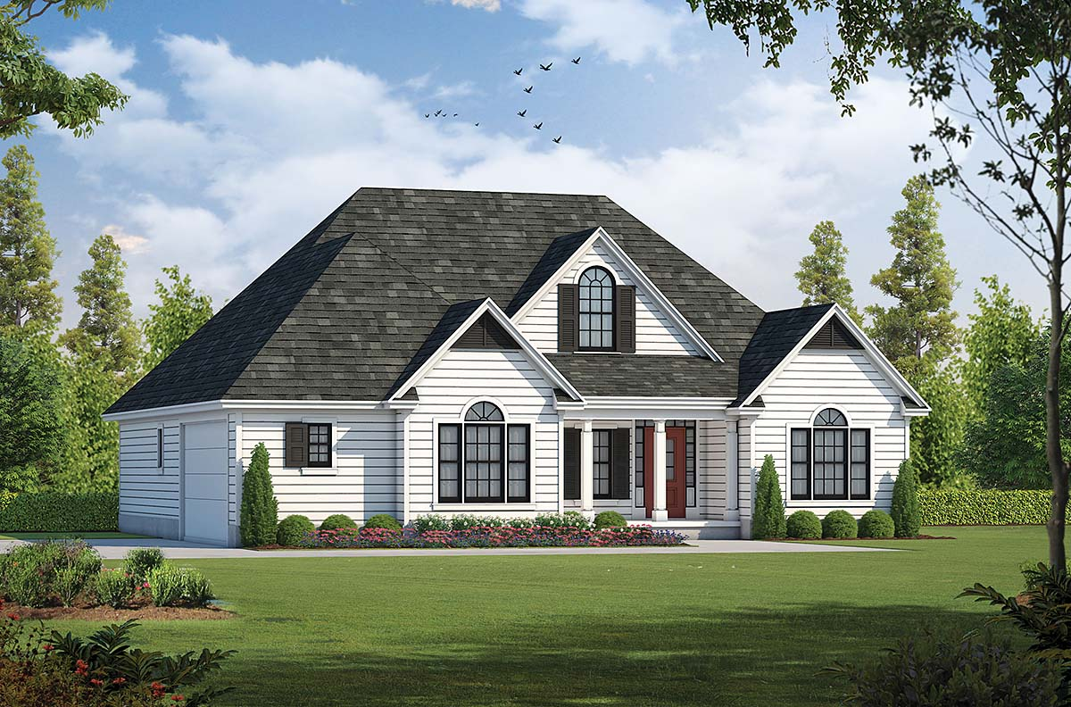 Traditional House Plan 68138 with 3 Beds, 3 Baths, 2 Car Garage Elevation