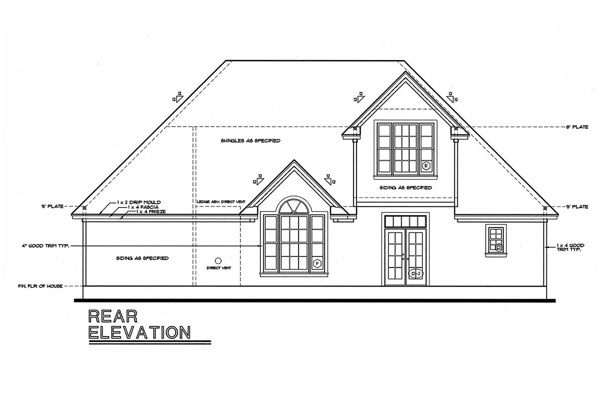 Traditional House Plan 68138 with 3 Beds, 3 Baths, 2 Car Garage Rear Elevation