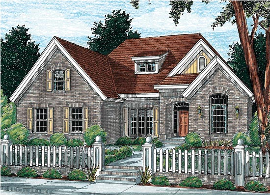 European House Plan 68140 with 4 Beds, 3 Baths, 2 Car Garage Elevation