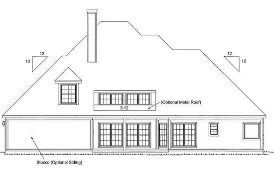 European Southern House Plan 68141 Rear Elevation