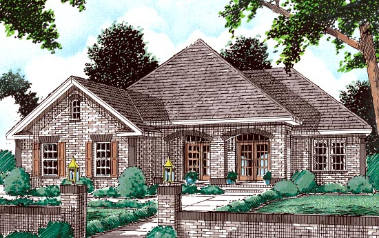 European House Plan 68143 Elevation