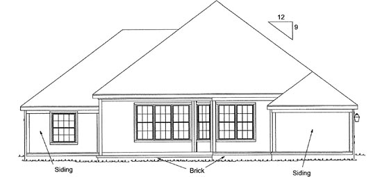 European House Plan 68143 Rear Elevation