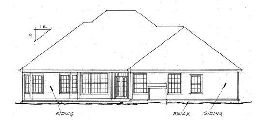 European House Plan 68144 Rear Elevation