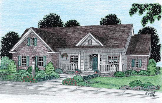 Country , Traditional House Plan 68148 with 4 Beds, 2 Baths, 2 Car Garage Elevation