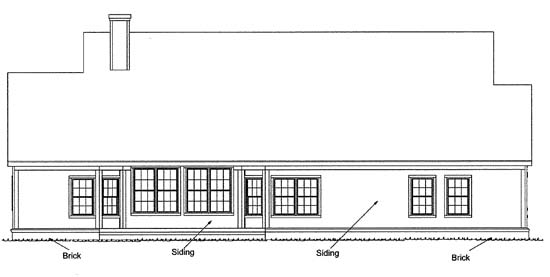 Country , Traditional House Plan 68148 with 4 Beds, 2 Baths, 2 Car Garage Rear Elevation
