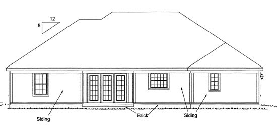 Traditional House Plan 68149 with 4 Beds, 2 Baths, 2 Car Garage Rear Elevation